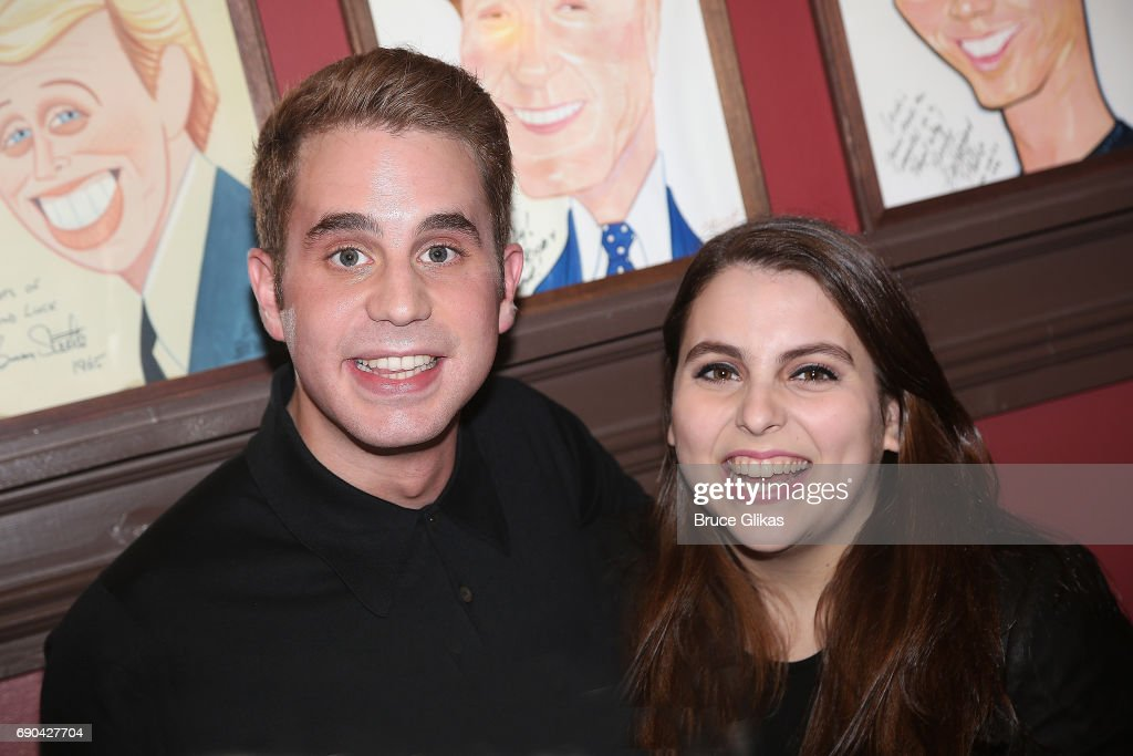 Ben Platt and best friend Beanie Feldstein (who is Jonah Hill's sister and is starring in 'Hello Dolly!') pose as Ben Platt gets honored for his performance in his broadway show 'Dear Evan Hansen' wth a caricature on the wall of fame at Sardi's on May 30, 2017 in New York City.