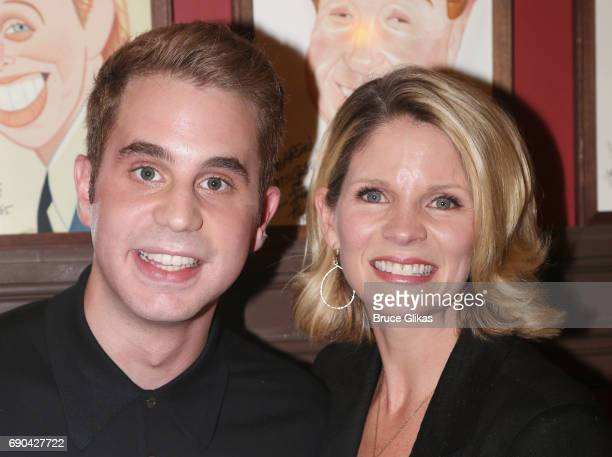 Ben Platt and Kelli O'Hara pose as Ben Platt gets honored for his performance in his broadway show 'Dear Evan Hansen' wth a caricature on the wall of...