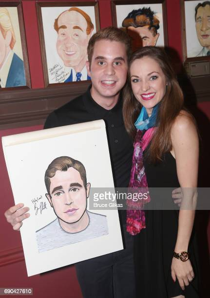 Ben Platt and Laura Osnes pose as Ben Platt gets honored for his performance in his broadway show 'Dear Evan Hansen' wth a caricature on the wall of...