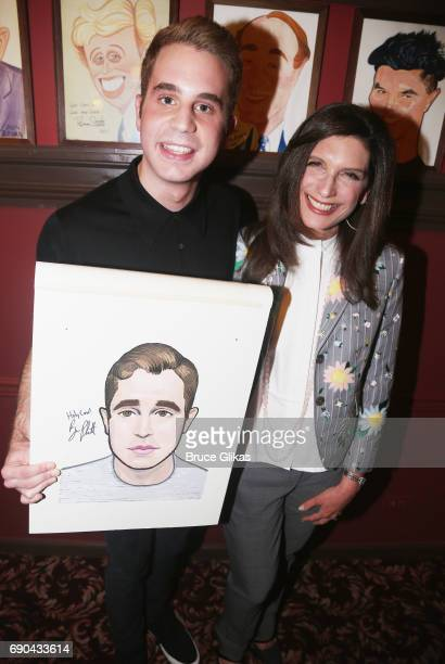 Ben Platt and Producer Stacey Mindich pose as Ben Platt gets honored for his performance in his broadway show 'Dear Evan Hansen' wth a caricature on...
