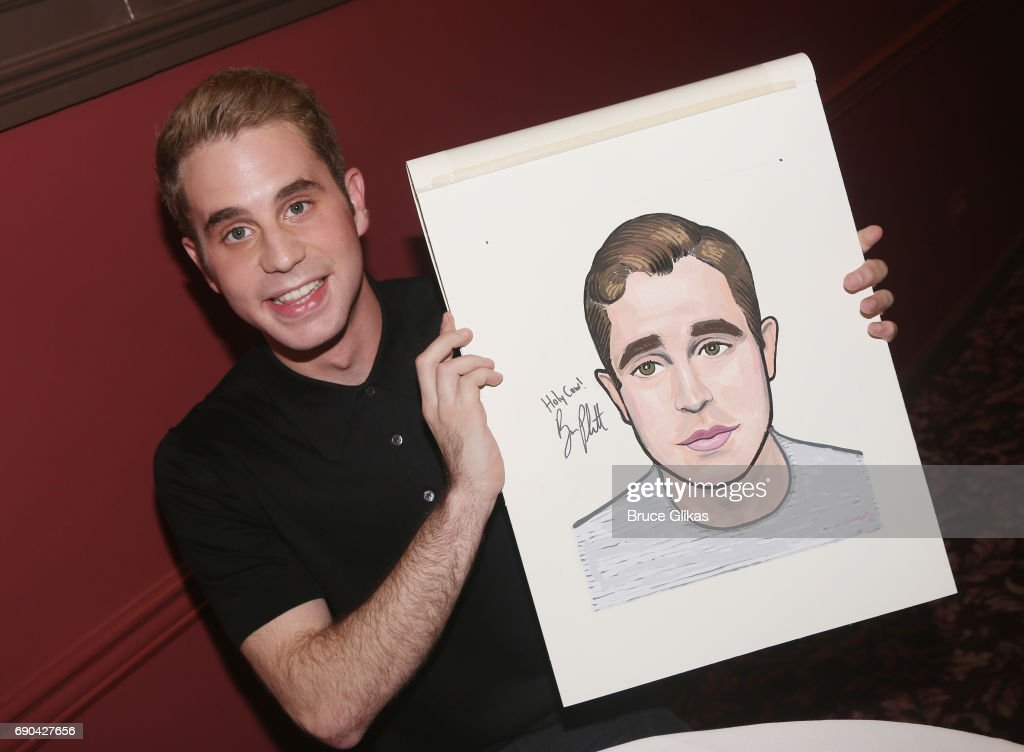 Ben Platt gets honored for his performance in the broadway musical 'Dear Evan Hansen' wth a caricature on the wall of fame at Sardi's on May 30, 2017 in New York City.