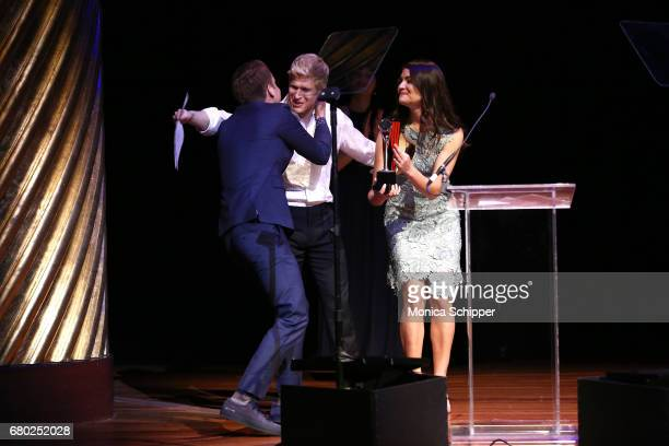 Ben Platt Lucas Steele and Phillipa Soo speak on stage during 32nd Annual Lucille Lortel Awards at NYU Skirball Center on May 7 2017 in New York City