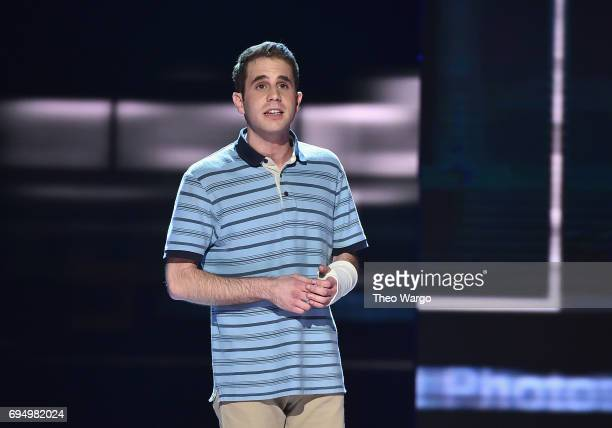 Ben Platt performs with the cast of 'Dear Evan Hansen' onstage during the 2017 Tony Awards at Radio City Music Hall on June 11 2017 in New York City