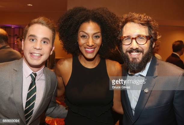 Ben Platt Sarah Jones and Josh Groban pose at the 2017 Drama League Awards Luncheon at The Marriott Marquis Times Square on May 19 2017 in New York...