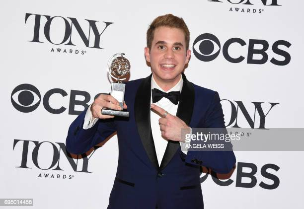 Ben Platt winner of the award for Best Actor in a Musical for 'Dear Evan Hanson' poses in the press room during the 2017 Tony Awards at 3 West Club...