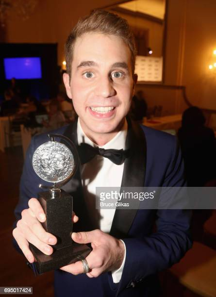 """Ben Platt winner of the award for Best Lead Actor in a Musical for """"Dear Evan Hanson"""" poses in the press room during the 2017 Tony Awards at 3 West..."""