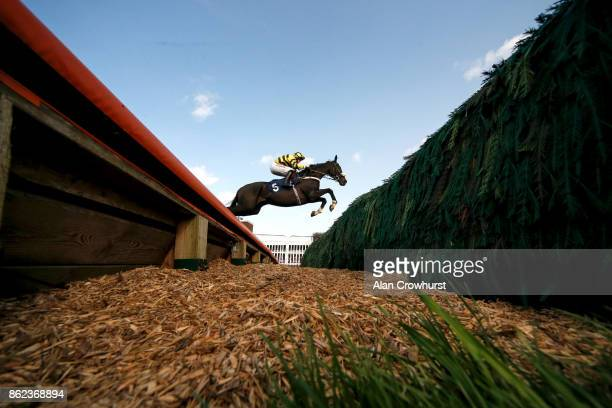 Ben Poste riding That's The Deal clear the open ditch on their way to winning The 32Red Handicap Steeple Chase at Huntingdon racecourse on October 17...