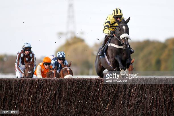 Ben Poste riding That's The Deal on their way to winning The 32Red Handicap Steeple Chase at Huntingdon racecourse on October 17 2017 in Huntingdon...
