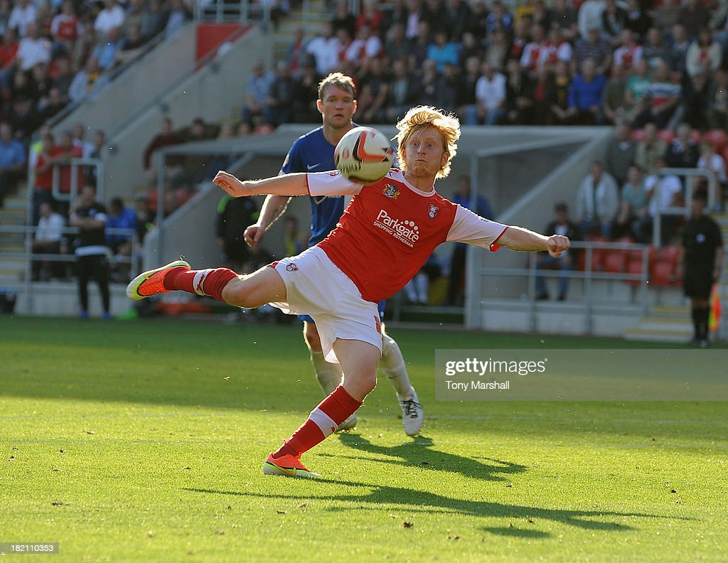 Ben Pringle of Rotherham United takes a shot at goal during the Sky Bet League One match between Rotherham United and Peterborough United at The New York Stadium on September 28, 2013 in Rotherham, England.