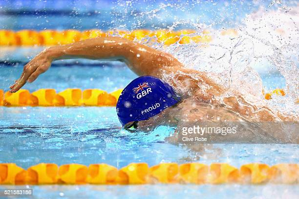 Ben Proud of Great Britain competes in the Men's 50m Freestyle Final on day six of the British Swimming Championships at Tollcross International...