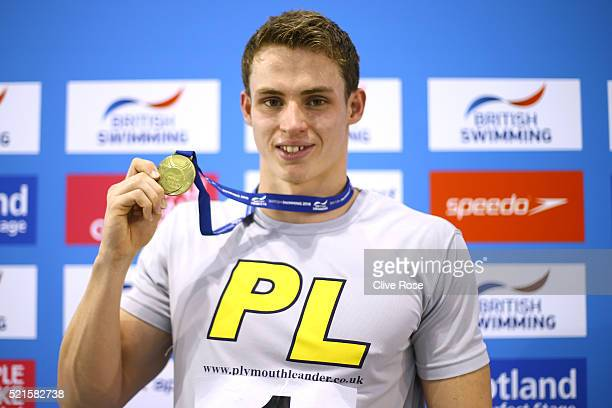 Ben Proud of Great Britain poses with his Gold medal after winning the Men's 50m Freestyle Final on day six of the British Swimming Championships at...