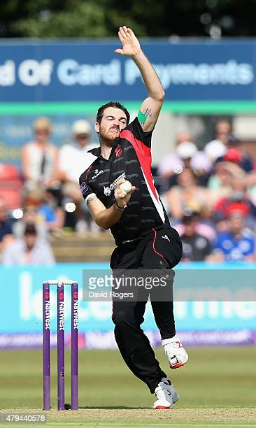Ben Raine of Leicestershire Foxes bowls during the Natwest T20 Blast match between Leicestershire Foxes and Birmingham Bears at Grace Road on July 4...