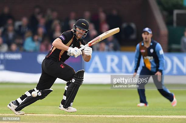 Ben Raine of Leicestershire Foxes hits out during the NatWest T20 Blast match between Derbyshire Falcons and Leicestershire Foxes at The County...