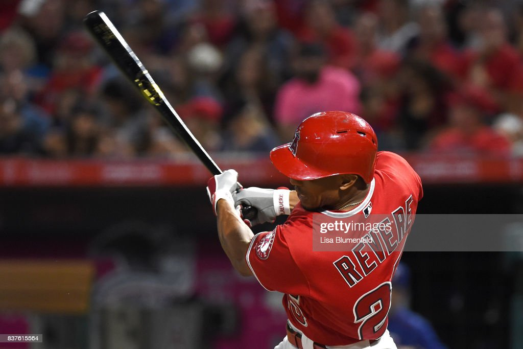Ben Revere #25 of the Los Angeles Angels of Anaheim hits a single in the second inning against the Texas Rangers at Angel Stadium of Anaheim on August 22, 2017 in Anaheim, California.
