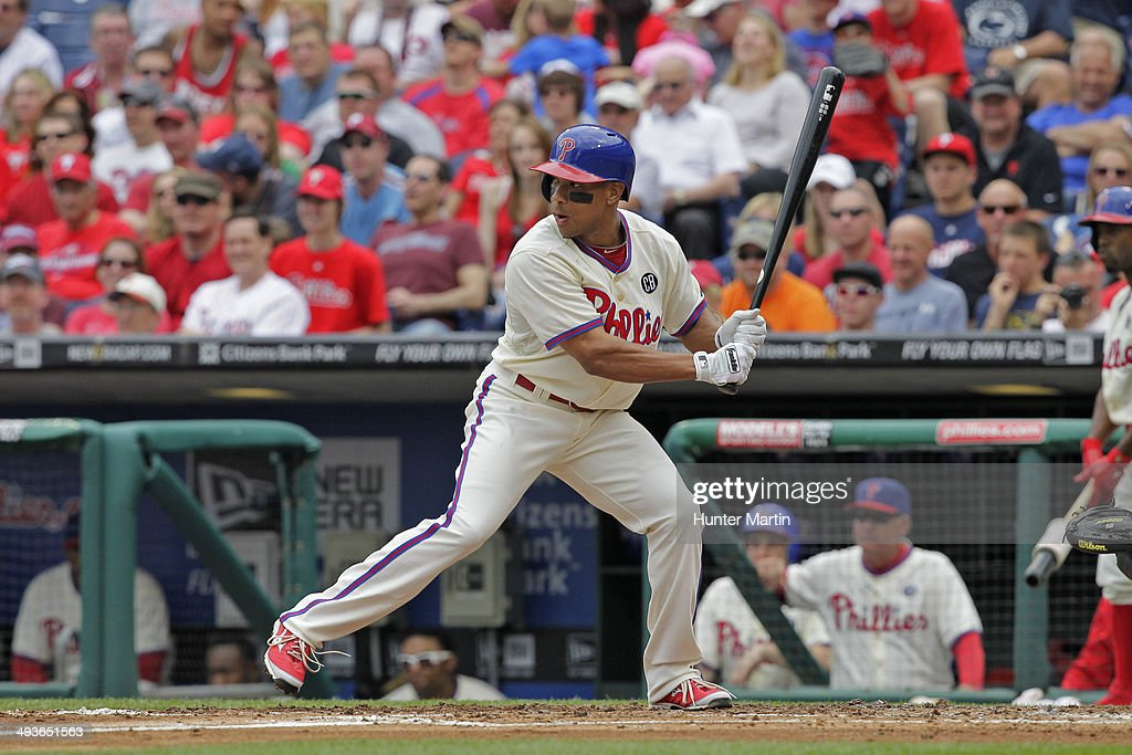 <a gi-track='captionPersonalityLinkClicked' href=/galleries/search?phrase=Ben+Revere&family=editorial&specificpeople=6826641 ng-click='$event.stopPropagation()'>Ben Revere</a> #2 of the Philadelphia Phillies bats during a game against the Los Angeles Dodgers at Citizens Bank Park on May 24, 2014 in Philadelphia, Pennsylvania. The Phillies won 5-3.