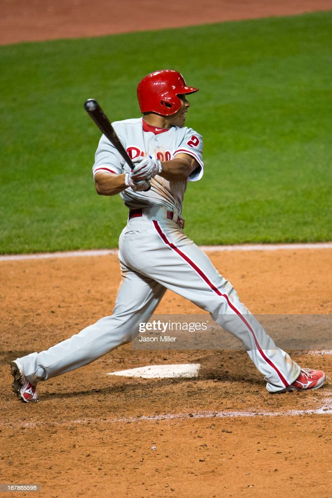 <a gi-track='captionPersonalityLinkClicked' href=/galleries/search?phrase=Ben+Revere&family=editorial&specificpeople=6826641 ng-click='$event.stopPropagation()'>Ben Revere</a> #2 of the Philadelphia Phillies flies out to left to end the game against the Cleveland Indians at Progressive Field on May 1, 2013 in Cleveland, Ohio. The Indians defeated the Phillies 6-0.