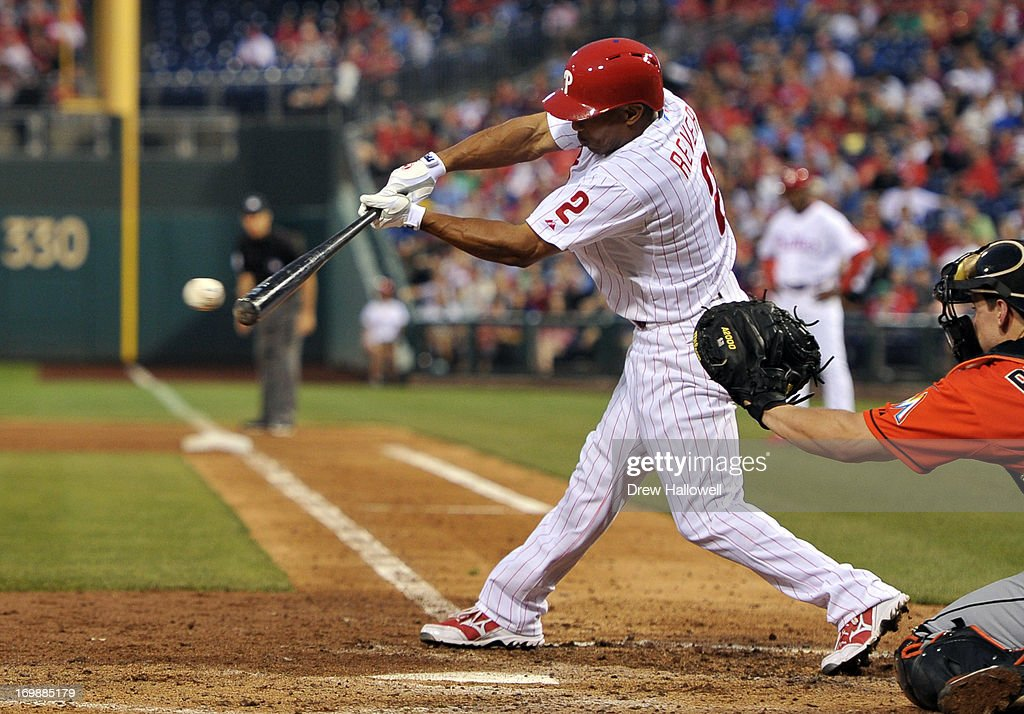 <a gi-track='captionPersonalityLinkClicked' href=/galleries/search?phrase=Ben+Revere&family=editorial&specificpeople=6826641 ng-click='$event.stopPropagation()'>Ben Revere</a> #2 of the Philadelphia Phillies hits a one run single in the fifth inning against the Miami Marlins at Citizens Bank Park on June 3, 2013 in Philadelphia, Pennsylvania. The Phillies won 7-2.
