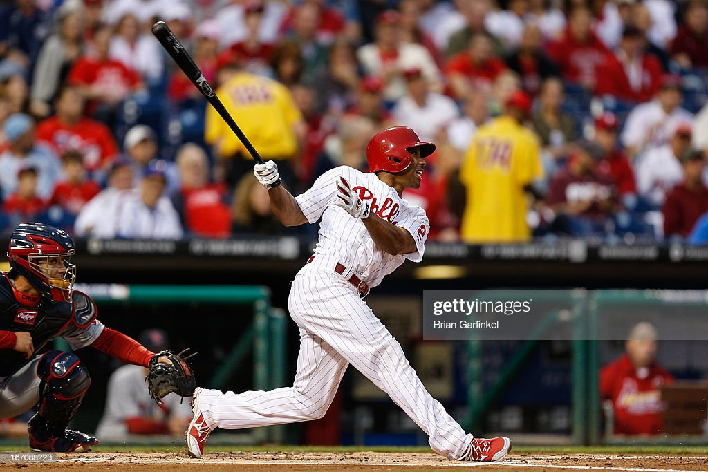 <a gi-track='captionPersonalityLinkClicked' href=/galleries/search?phrase=Ben+Revere&family=editorial&specificpeople=6826641 ng-click='$event.stopPropagation()'>Ben Revere</a> #2 of the Philadelphia Phillies hits a triple in the first inning of the game against the St. Louis Cardinals at Citizens Bank Park on April 19, 2013 in Philadelphia, Pennsylvania.