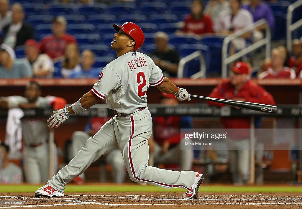 <a gi-track='captionPersonalityLinkClicked' href=/galleries/search?phrase=Ben+Revere&family=editorial&specificpeople=6826641 ng-click='$event.stopPropagation()'>Ben Revere</a> #2 of the Philadelphia Phillies hits during a game against the Miami Marlins at Marlins Park on May 20, 2013 in Miami, Florida.