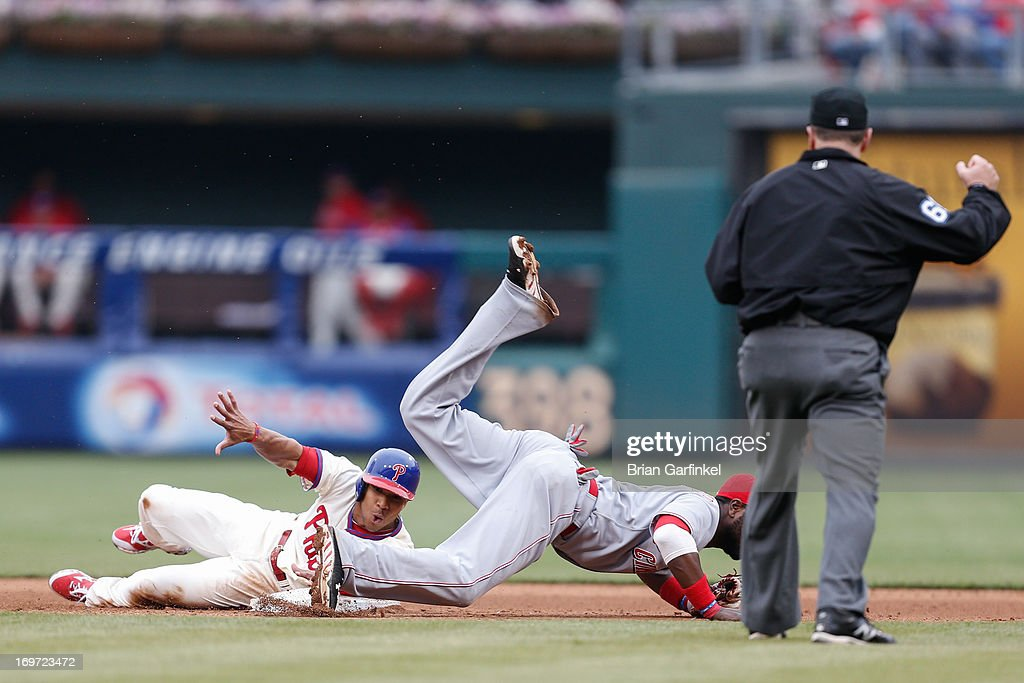 <a gi-track='captionPersonalityLinkClicked' href=/galleries/search?phrase=Ben+Revere&family=editorial&specificpeople=6826641 ng-click='$event.stopPropagation()'>Ben Revere</a> #2 of the Philadelphia Phillies is forced out at second in the sixth inning of the game against the Cincinnati Reds at Citizens Bank Park on May 19, 2013 in Philadelphia, Pennsylvania. The Phillies won 3-2.