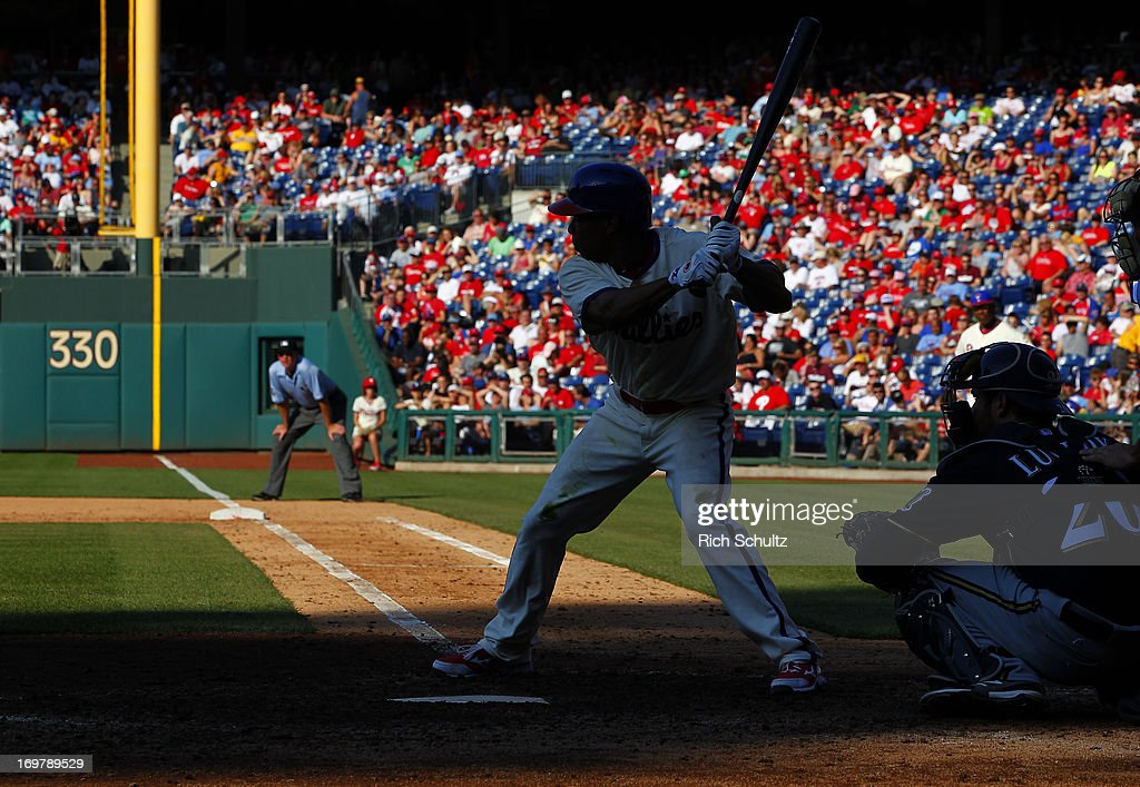 <a gi-track='captionPersonalityLinkClicked' href=/galleries/search?phrase=Ben+Revere&family=editorial&specificpeople=6826641 ng-click='$event.stopPropagation()'>Ben Revere</a> #2 of the Philadelphia Phillies is silhouetted as he bats in the fifth inning against the Milwaukee Brewers in a MLB baseball game on June 1, 2013 at Citizens Bank Park in Philadelphia, Pennsylvania. The Brewers defeated the Phillies 4-3.
