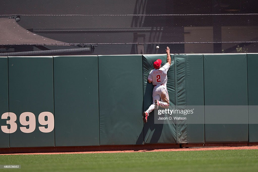 Ben Revere #2 of the Philadelphia Phillies jumps for but is unable to catch a fly ball hit for a three run home run by Andrew Susac (not pictured) of the San Francisco Giants during the fourth inning at AT&T Park on July 12, 2015 in San Francisco, California. The San Francisco Giants defeated the Philadelphia Phillies 4-2.