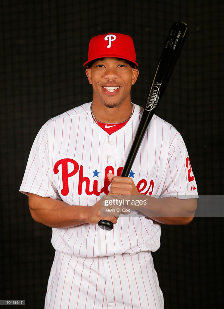<a gi-track='captionPersonalityLinkClicked' href=/galleries/search?phrase=Ben+Revere&family=editorial&specificpeople=6826641 ng-click='$event.stopPropagation()'>Ben Revere</a> #2 of the Philadelphia Phillies poses for a portrait on February 19, 2014 at Bright House Field in Clearwater, Florida.