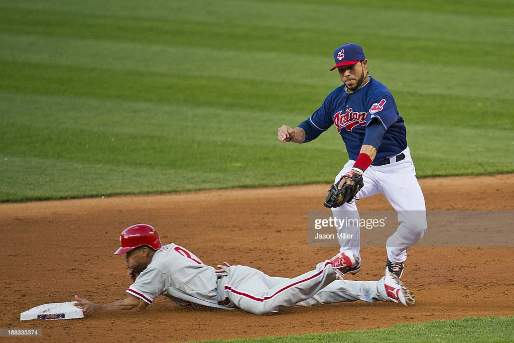 <a gi-track='captionPersonalityLinkClicked' href=/galleries/search?phrase=Ben+Revere&family=editorial&specificpeople=6826641 ng-click='$event.stopPropagation()'>Ben Revere</a> #2 of the Philadelphia Phillies steals second as Shortstop <a gi-track='captionPersonalityLinkClicked' href=/galleries/search?phrase=Mike+Aviles&family=editorial&specificpeople=4944765 ng-click='$event.stopPropagation()'>Mike Aviles</a> #4 of the Cleveland Indians misses the tag during the third inning at Progressive Field on May 1, 2013 in Cleveland, Ohio.