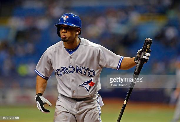 Ben Revere of the Toronto Blue Jays reacts after striking out swinging to pitcher Chris Archer of the Tampa Bay Rays during the first inning of a...
