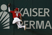 Ben Revere of the Washington Nationals makes a catch for the third out of the sixth inning against the Cincinnati Reds at Nationals Park on July 2...