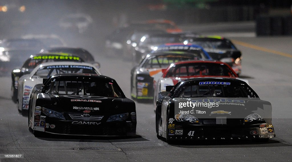 <a gi-track='captionPersonalityLinkClicked' href=/galleries/search?phrase=Ben+Rhodes+-+Race+Car+Driver&family=editorial&specificpeople=13636789 ng-click='$event.stopPropagation()'>Ben Rhodes</a>, driver of the #46 Alpha Energy Solutions Chevrolet, leads the field during the NASCAR Whelen All-American Late Model UNOH Battle At The Beach at Daytona International Speedway on February 18, 2013 in Daytona Beach, Florida.