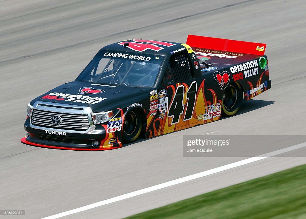 Ben Rhodes, driver of the #41 Operation BBQ Relief Toyota, practices for the NASCAR Camping World Truck Series 16th Annual Toyota Tundra 250 on May 05, 2016 in Kansas City, Kansas.