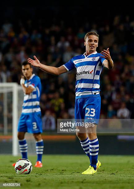 Ben Rienstra of PEC Zwolle gestures during the UEFA Europa League Qualifying PlayOffs Round second leg match between Sparta Prague and PEC Zwolle on...