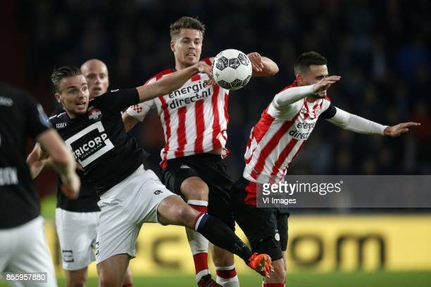 Ben Rienstra of Willem II Marco van Ginkel of PSV Gaston Pereiro of PSV during the Dutch Eredivisie match between PSV Eindhoven and Willem II at the...