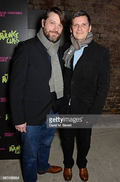 Ben Ringham and Nigel Harman attend an after party following the Gala Performance of 'The Ruling Class' at The Bankside Vaults on January 28 2015 in...