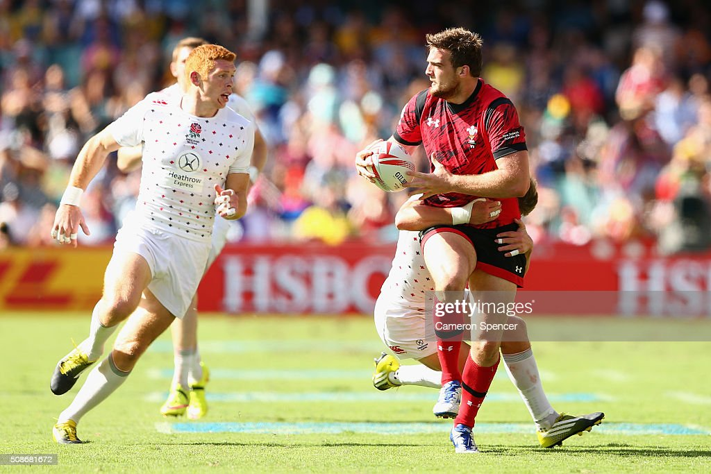 Ben Roach of Wales is tackled during the 2016 Sydney Sevens match between England and Wales at Allianz Stadium on February 6, 2016 in Sydney, Australia.