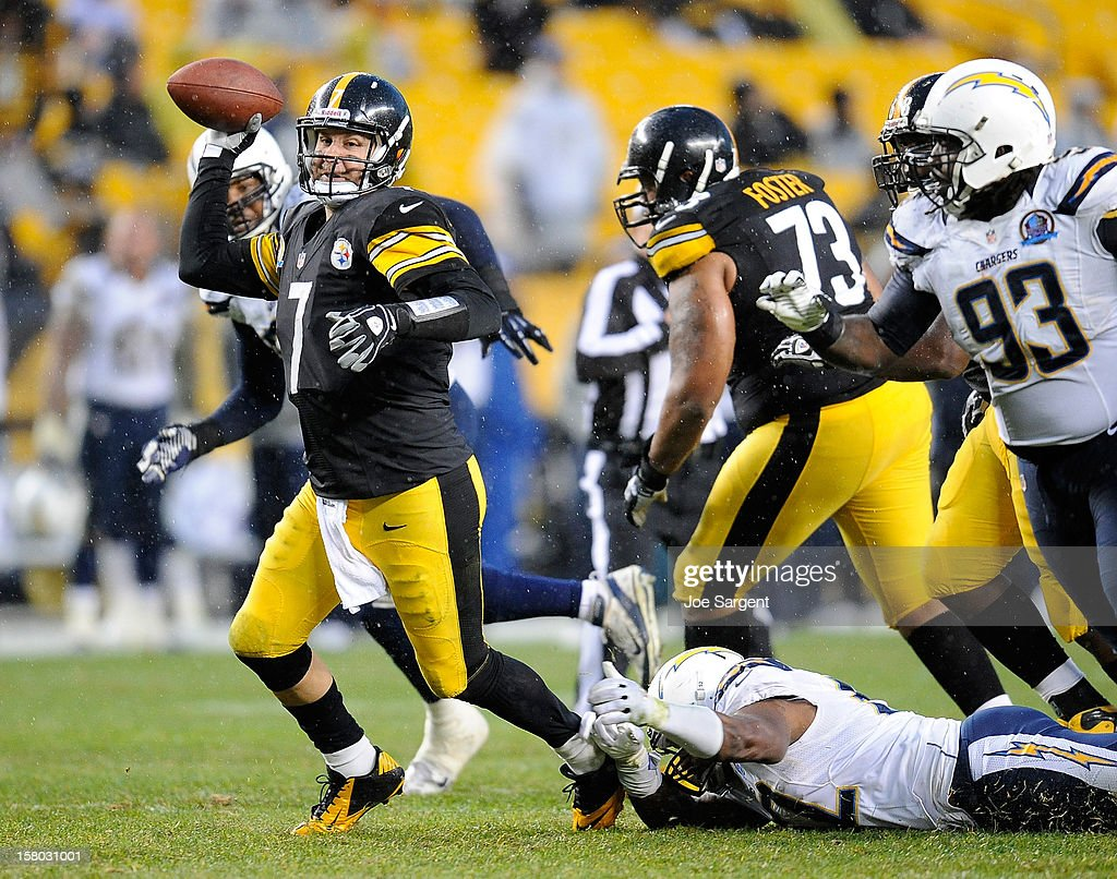 Ben Roethlisberger #7 of the Pittsburgh Steelers avoids a sack and throws a pass during the fourth quarter against the San Diego Chargers on December 9, 2012 at Heinz Field in Pittsburgh, Pennsylvania.