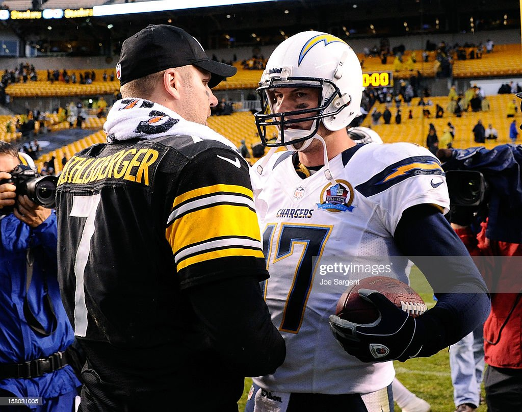 <a gi-track='captionPersonalityLinkClicked' href=/galleries/search?phrase=Ben+Roethlisberger&family=editorial&specificpeople=201605 ng-click='$event.stopPropagation()'>Ben Roethlisberger</a> #7 of the Pittsburgh Steelers congratulates <a gi-track='captionPersonalityLinkClicked' href=/galleries/search?phrase=Philip+Rivers&family=editorial&specificpeople=212885 ng-click='$event.stopPropagation()'>Philip Rivers</a> #17 of the San Diego Chargers after the game on December 9, 2012 at Heinz Field in Pittsburgh, Pennsylvania. San Diego won the game 34-24.