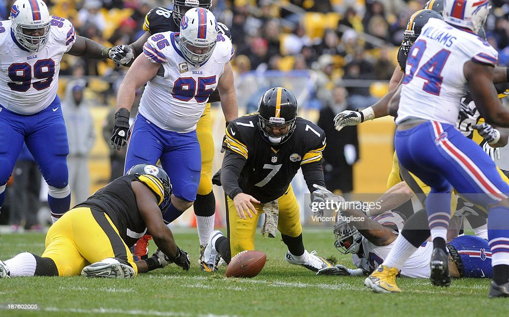 <a gi-track='captionPersonalityLinkClicked' href=/galleries/search?phrase=Ben+Roethlisberger&family=editorial&specificpeople=201605 ng-click='$event.stopPropagation()'>Ben Roethlisberger</a> #7 of the Pittsburgh Steelers dives to recover his fumble during the third quarter against the Buffalo Bills at Heinz Field on November 10, 2013 in Pittsburgh, Pennsylvania.