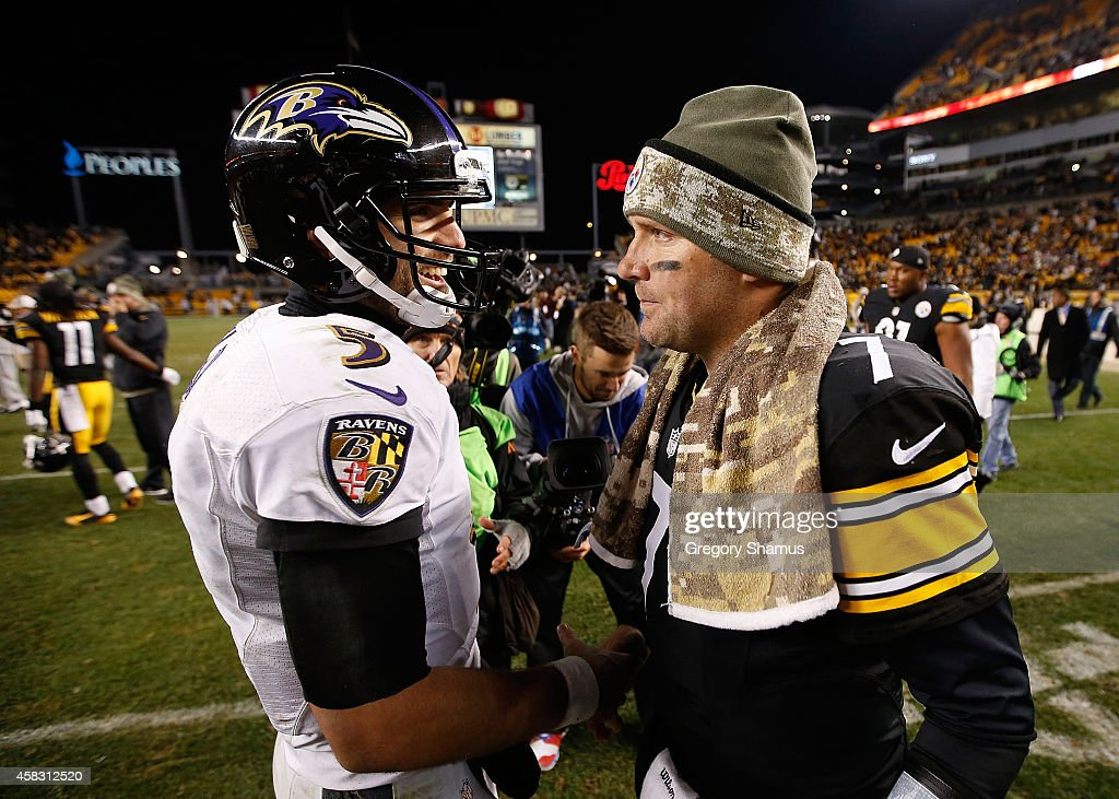Ben Roethlisberger #7 of the Pittsburgh Steelers is congratulated by Joe Flacco #5 of the Baltimore Ravens after a 43-23 win at Heinz Field on November 2, 2014 in Pittsburgh, Pennsylvania.