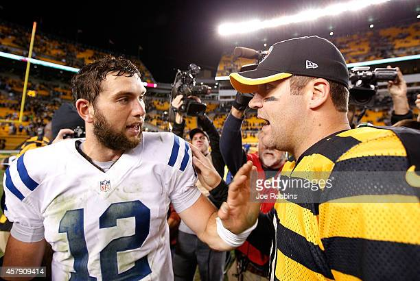 Ben Roethlisberger of the Pittsburgh Steelers is congratulated by Andrew Luck of the Indianapolis Colts after Pittsburgh's 5134 win at Heinz Field on...