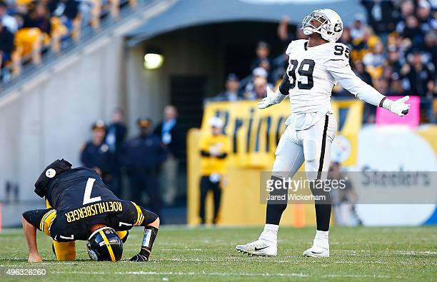 Ben Roethlisberger of the Pittsburgh Steelers is injured in the 4th quarter after being sacked by Aldon Smith of the Oakland Raiders during the game...