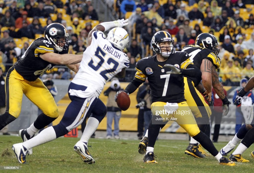 Ben Roethlisberger #7 of the Pittsburgh Steelers is pressured by Larry English #52 of the San Diego Chargers during the game on December 9, 2012 at Heinz Field in Pittsburgh, Pennsylvania. The Chargers defeated the Steelers 34-24.