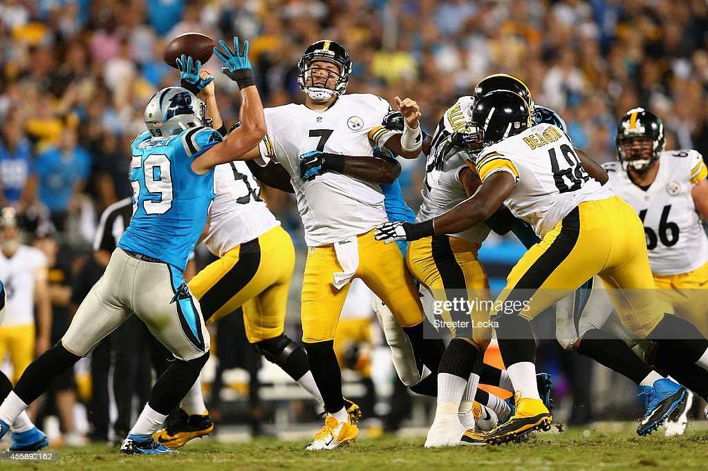 Ben Roethlisberger #7 of the Pittsburgh Steelers is sacked in the 1st quarter by the Carolina Panthers during the game at Bank of America Stadium on September 21, 2014 in Charlotte, North Carolina.