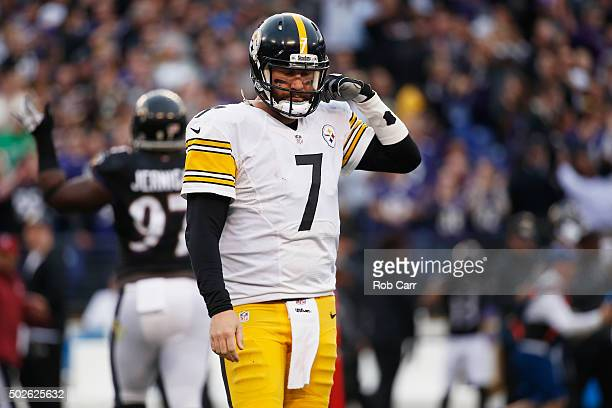 Ben Roethlisberger of the Pittsburgh Steelers looks on during the fourth quarter against the Baltimore Ravens at MT Bank Stadium on December 27 2015...