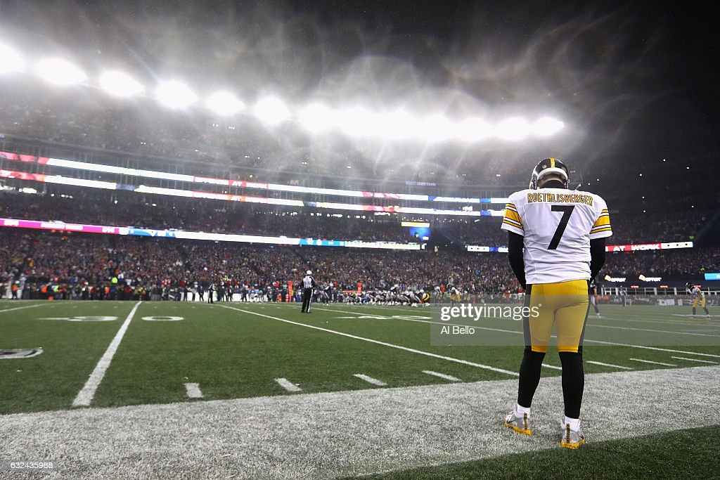 Ben Roethlisberger #7 of the Pittsburgh Steelers looks on from the sideline during the second half against the New England Patriots in the AFC Championship Game at Gillette Stadium on January 22, 2017 in Foxboro, Massachusetts.