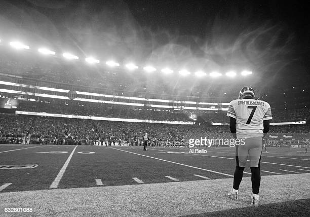 Ben Roethlisberger of the Pittsburgh Steelers looks on from the sideline during the second half against the New England Patriots in the AFC...