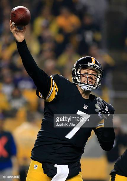 Ben Roethlisberger of the Pittsburgh Steelers plays against the Baltimore Ravens during the Wild Card game on January 3 2015 at Heinz Field in...