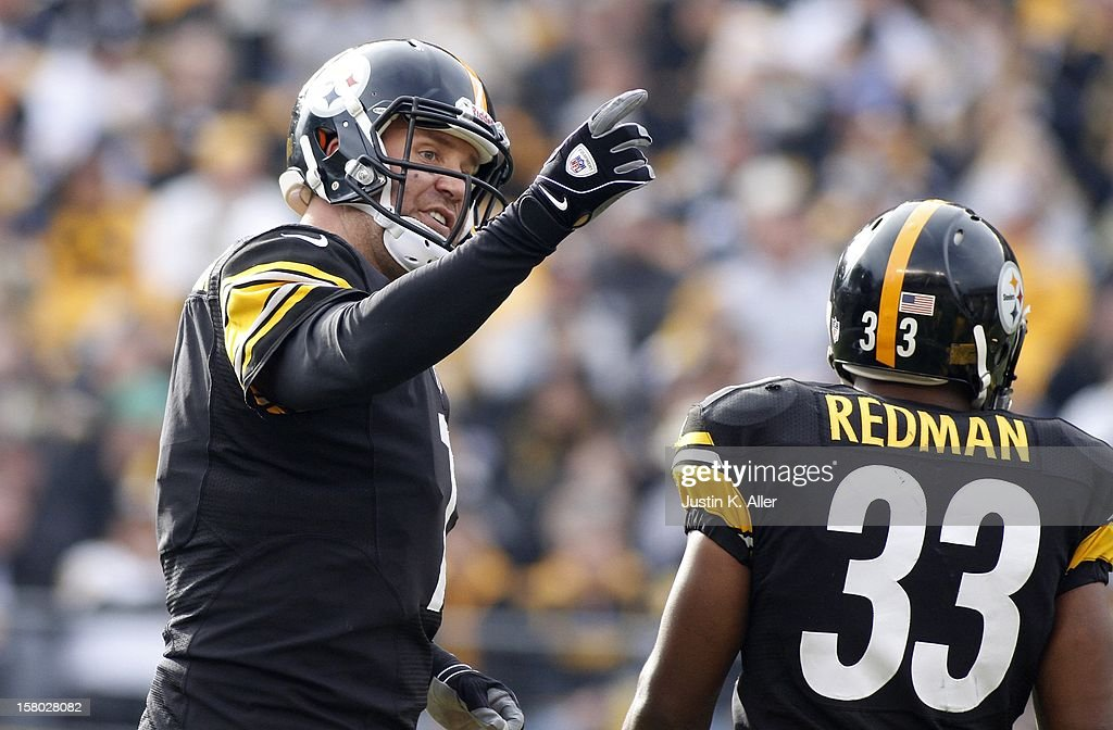 Ben Roethlisberger #7 of the Pittsburgh Steelers reacts after a play in the first half against the San Diego Chargers during the game on December 9, 2012 at Heinz Field in Pittsburgh, Pennsylvania.
