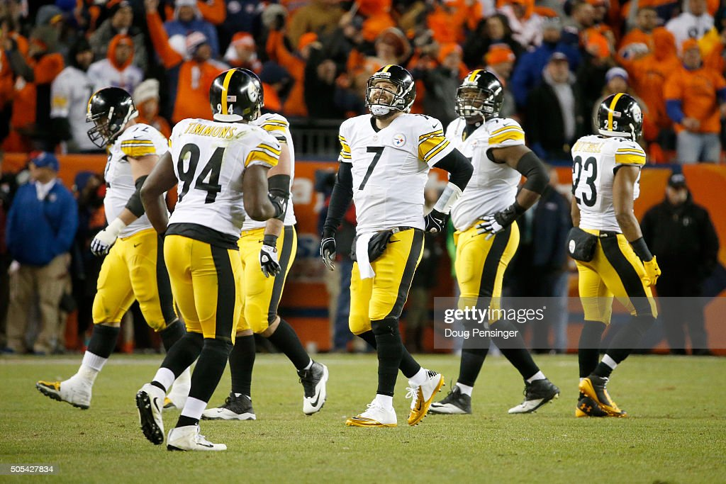 Ben Roethlisberger #7 of the Pittsburgh Steelers reacts after a play in the fourth quarter during the AFC Divisional Playoff Game against the Denver Broncos at Sports Authority Field at Mile High on January 17, 2016 in Denver, Colorado.